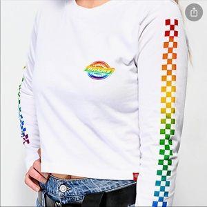 NWT Zumiez/ Dickies icon rainbow checker crop top